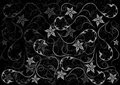 Abstract floral background illustration of ornament on black Royalty Free Stock Images