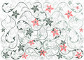 Abstract floral background illustration of ornament and in green and red colours Royalty Free Stock Images