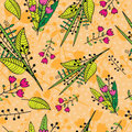 Abstract floral background. Seamless pattern with hand drawn bright flowers, leaves and branches.