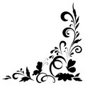 Abstract floral background silhouettes with flowers and butterflies black on white vector illustration Royalty Free Stock Image