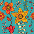 Abstract floral background, summer theme seamless pattern, vecto Royalty Free Stock Photo