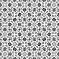Abstract floral black and white pattern. Retro tile texture background. Seamless illustration. Royalty Free Stock Photo