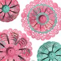 Abstract floral button lacy doilies isolated Royalty Free Stock Photos