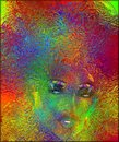 Abstract floral close up face modern pop art of a woman s a explosion of colors surrounds this beautiful Stock Photo