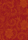 Abstract floral decorative background on red color, vector illus Royalty Free Stock Photo