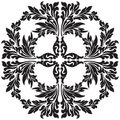 Abstract floral decorative element in black color vector illustr Royalty Free Stock Images