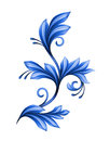 Abstract floral design element blue gzhel ornament isolated on whit Stock Images
