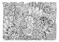 Abstract floral lineart for background and adult coloring book page. Vector illustration Royalty Free Stock Photo