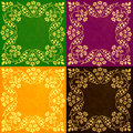 Abstract floral motif collage pastel shades a of vintage motifs against green violet orange and brown backgrounds Stock Photography
