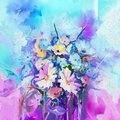 Abstract floral oil color painting. Flower paintings on green blue and red color background.