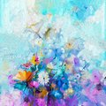 Abstract floral oil color painting. Spring flower seasonal nature Royalty Free Stock Photo