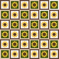 Abstract Floral Pattern Background With Colorful Squares And Sunflowers