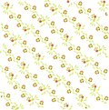 Abstract floral pattern on a diagonal. Light green and brown leaves and birds, red flowers on white, summer Royalty Free Stock Photo