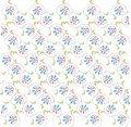 Abstract floral pattern on white diagonal lines pink blue flowers green leaves black contours spring summer design element Royalty Free Stock Photo
