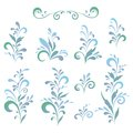 Abstract floral patterns silhouettes set green and blue on white background Royalty Free Stock Photos