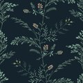 Abstract floral seamless pattern on dark background