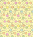 Abstract floral seamless pattern with decorative flowers on a yellow background Royalty Free Stock Image