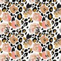 Abstract floral seamless pattern: flowers with zebra stripes, leopard skin print