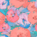 Abstract floral seamless pattern in grunge style Royalty Free Stock Photo