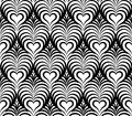 Abstract floral seamless pattern with love heart shapes