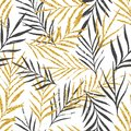 Abstract floral seamless pattern with palm leaves, trendy gold glitter texture