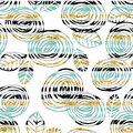 Abstract floral seamless pattern with roses on striped background. Royalty Free Stock Photo