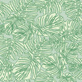 Abstract floral seamless texture with fern leaves pattern on pastel green background Stock Photos