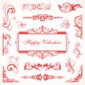 Abstract floral Valentine decorative ornaments Royalty Free Stock Image