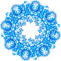 Abstract floral vector circle in gzhel style isolated Royalty Free Stock Image
