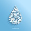 Abstract Floral Water Drop on Blue Background. Royalty Free Stock Photo