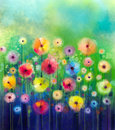 Abstract floral watercolor painting. Royalty Free Stock Photo