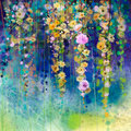 Abstract floral watercolor painting. Spring flower seasonal nature background