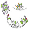 Abstract flower foliage round ornament.  illustration Royalty Free Stock Photo