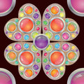 Abstract flower in form hearts with colorful buttons on maroon background Stock Images