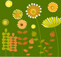 Abstract flower garden with green background-1 Royalty Free Stock Image