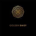 Abstract flower logo icon design. Elegant Golden Daisy symbol. T