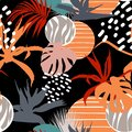 Abstract flower and tropical leaves drawing seamless pattern. Vintage set. Royalty Free Stock Photo