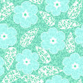 Abstract flowers floral green seamless background Stock Photo