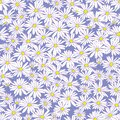 Abstract flowers hand drawn chamomile blossom sketch drawing seamless pattern on purple background design