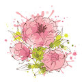 Abstract flowers illustration -- peonies Royalty Free Stock Photo