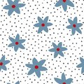 Abstract flowers painted with watercolor brush and polka dot. Cute floral pattern.