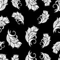 Abstract flowers and plants seamless pattern, vector black white background, monochrome. Natural stylized ornament. Hand drawing