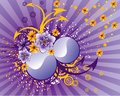 Abstract flowers on purple background Stock Image