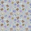 Abstract flowers repeat seamless pattern. Watercolor and digital hand-drawn pattern. mixed media.