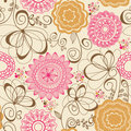 Abstract flowers seamless pattern Stock Image