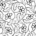 Abstract flowers seamless pattern background black isolated Stock Photography
