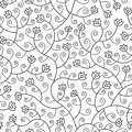 Abstract flowers seamless pattern background black isolated Stock Image
