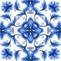 Abstract flowers seamless pattern blue white gzhel ornament floral Stock Image