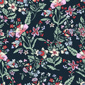 Abstract flowers seamless pattern, floral background. Fantasy multicolored on a blue green backdrop. For the design of