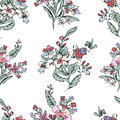 Abstract flowers seamless pattern, floral background. Fantasy multicolored on a white backdrop. For the design of the
